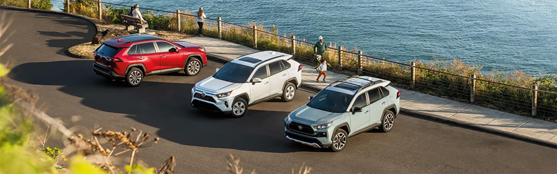 Halterman's Toyota is a Toyota Dealership near Cresco, PA   Three RAV4s Parked Next to the Beach