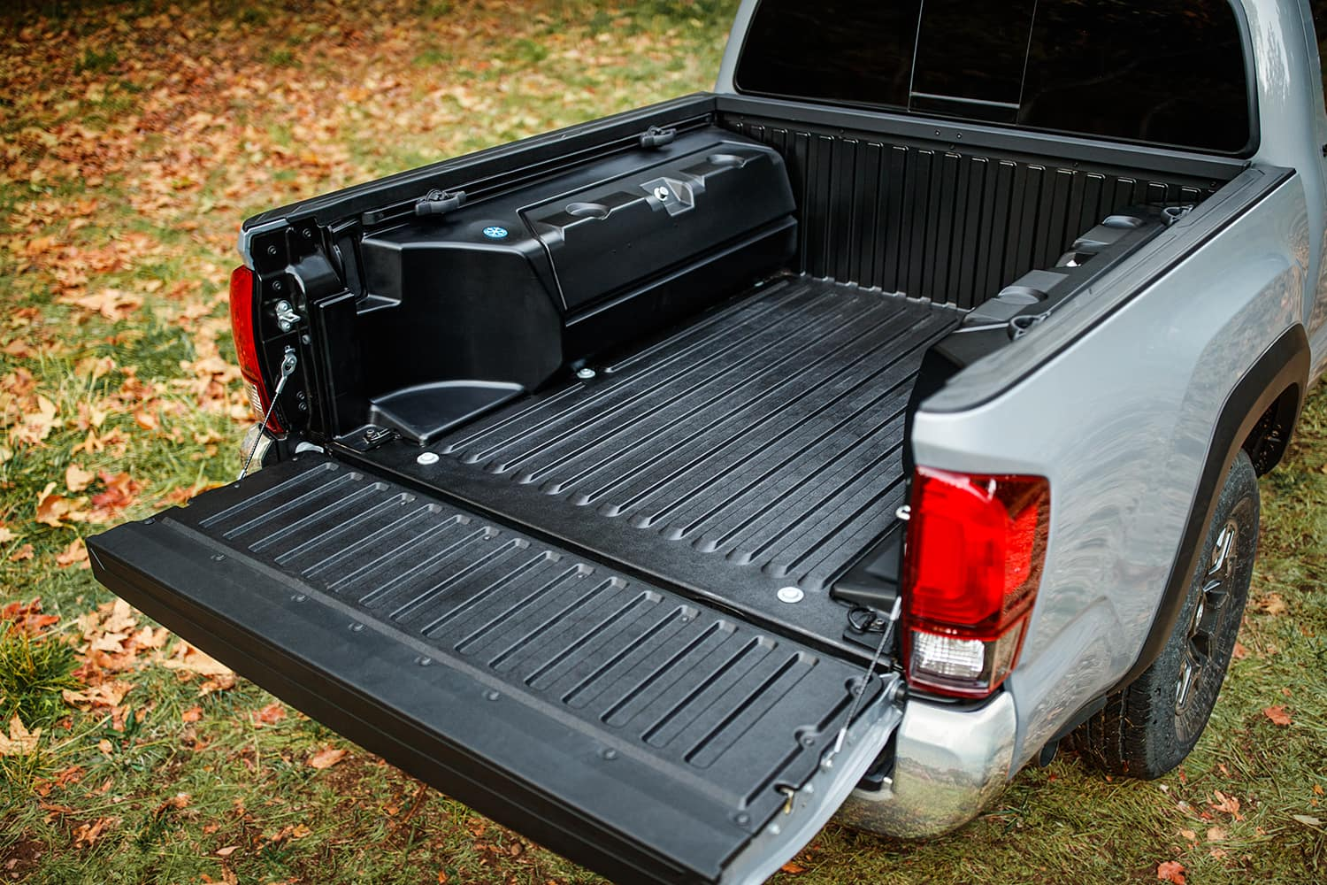Accessories that help keep your Toyota protected at Halterman's Toyota in East Stroudsburg   Protected Toyota Tacoma bed liner and lockable bed storage