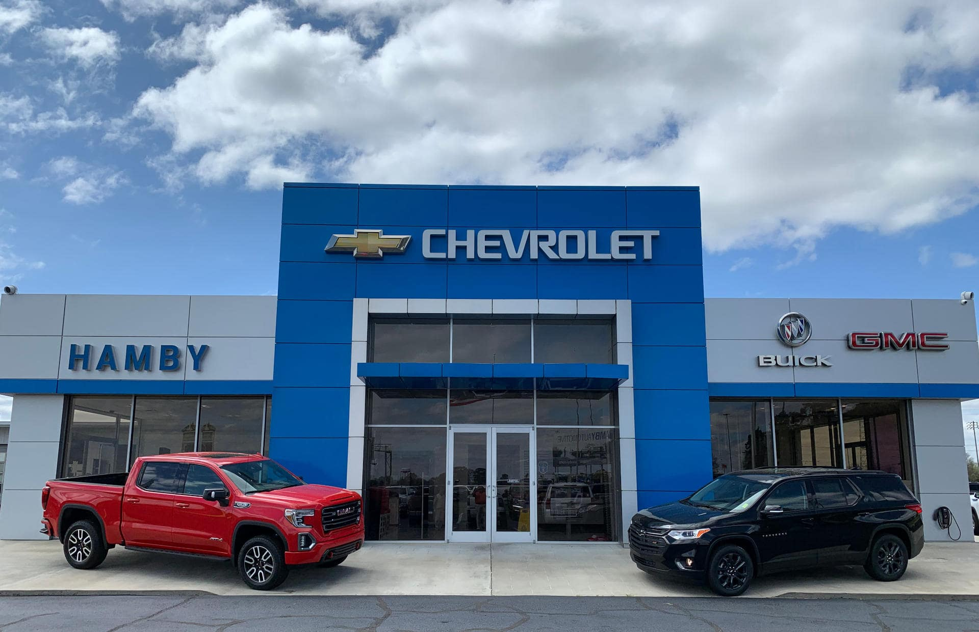 An exterior shot of Hamby Chevrolet.