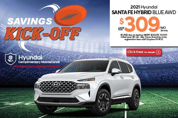 New 2021 Hyundai Santa Fe Hybrid Blue
