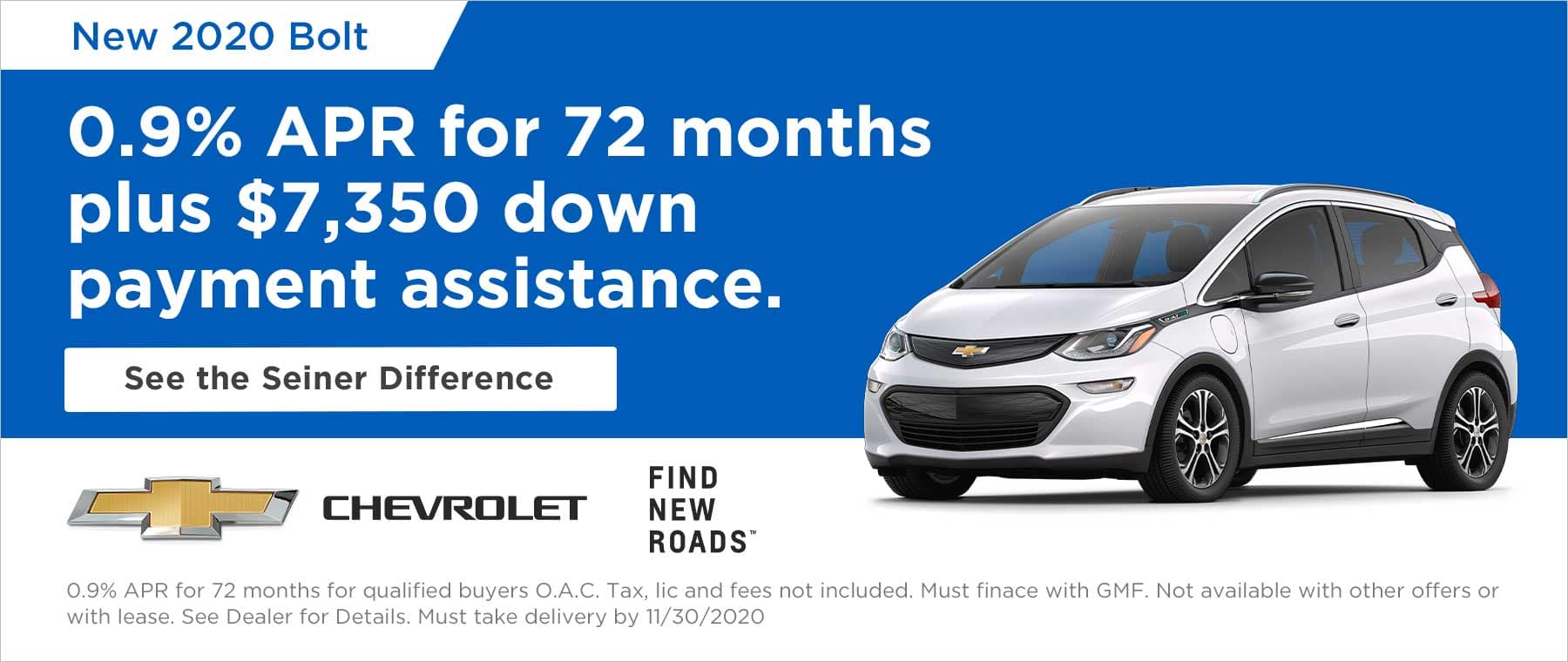 Bolt 0.9% APR and $7,350 down payment assistance