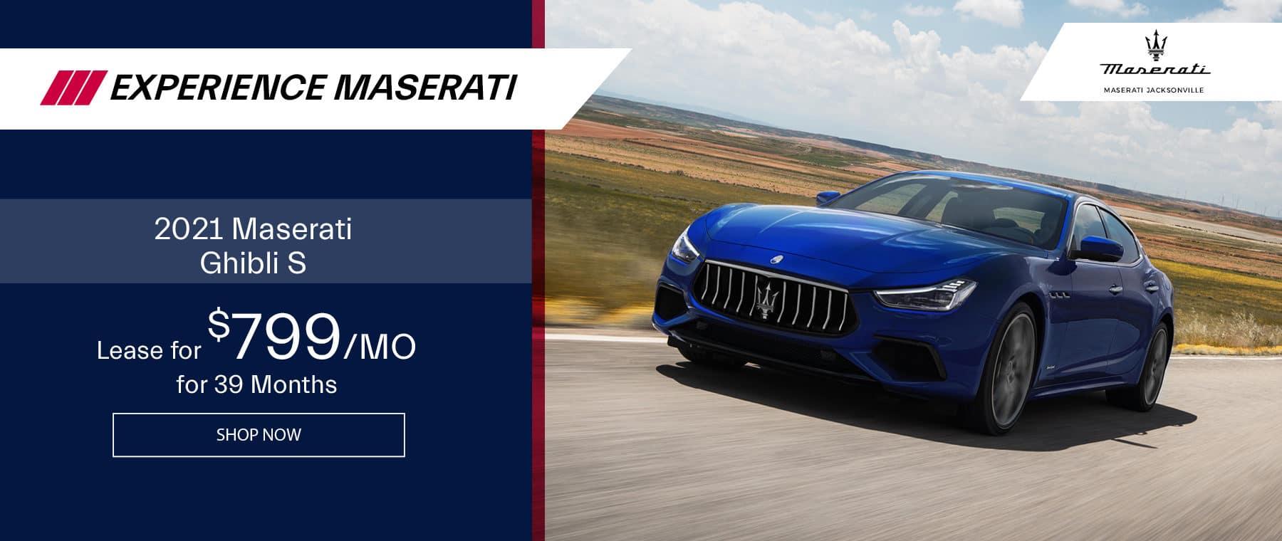 blue 2021 Maserati Ghibli on the open road