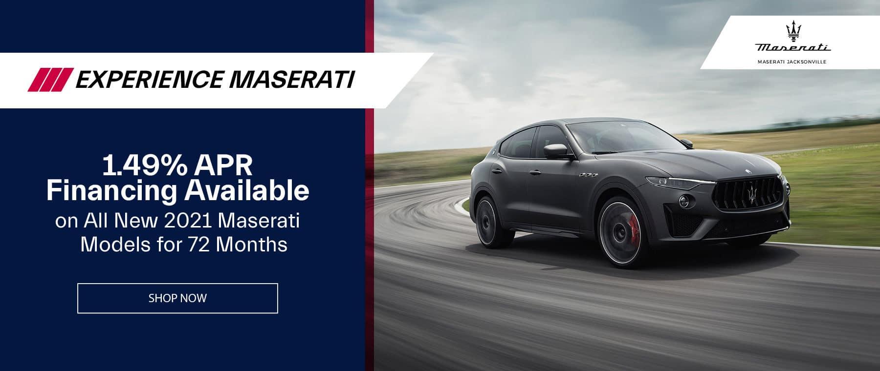 dark 2021 Maserati driving around a curvy road