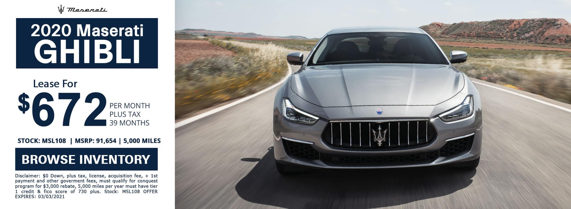 New 2020 Maserati Ghibli lease special in los angeles