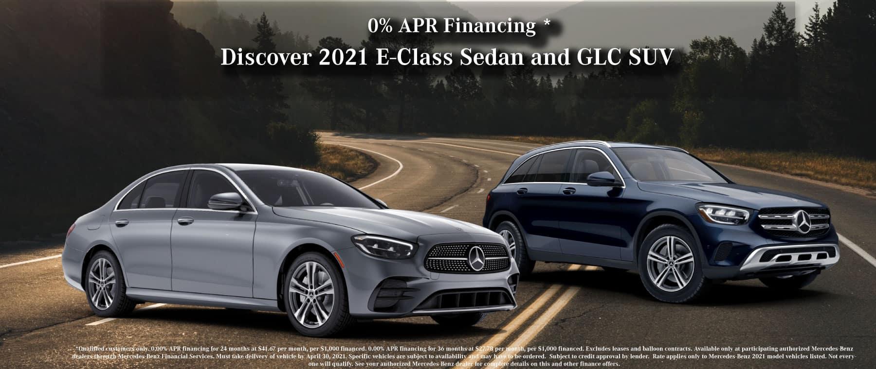 Mercedes-Benz E class sedan and glc suv financingspecial