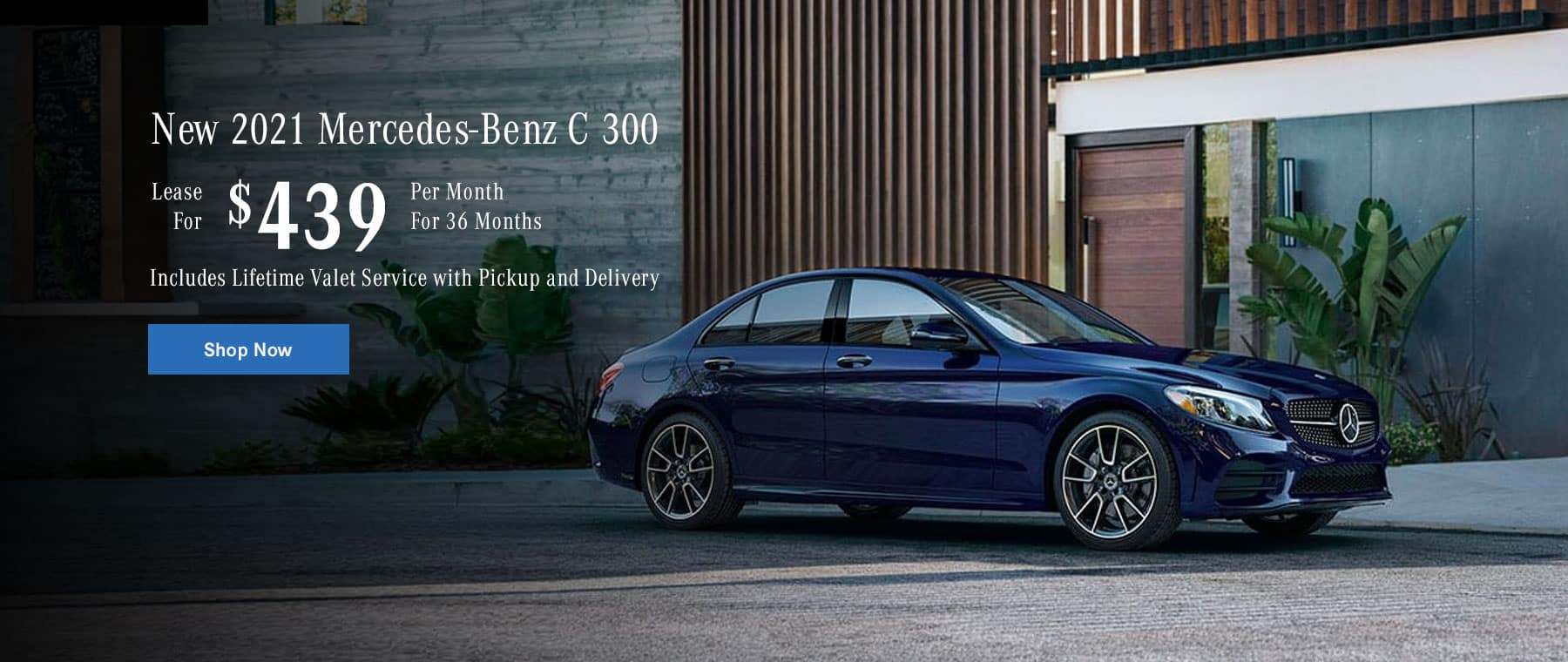 New 2021 Mercedes-Benz C300 Lease for $439/mo. For 36 mo. Includes Lifetime Valet Service with Pickup and Delivery
