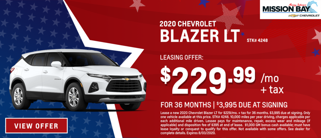 New 2020 Chevy Blazer lease deals at San Diego Chevrolet dealership
