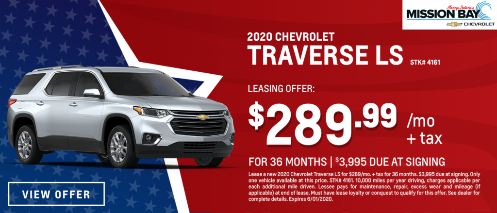 New 2020 Chevy Traverse LS lease deals at San Diego Chevrolet dealership