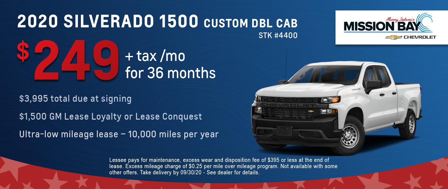New 2020 Chevy Silverado 1500 lease deals at San Diego Chevrolet dealership