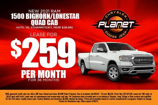 New 2021 Ram 1500 BIGHORN/LONESTAR QUAD CAB