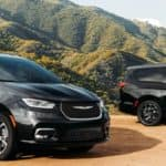 black chrysler pacificas in mountains