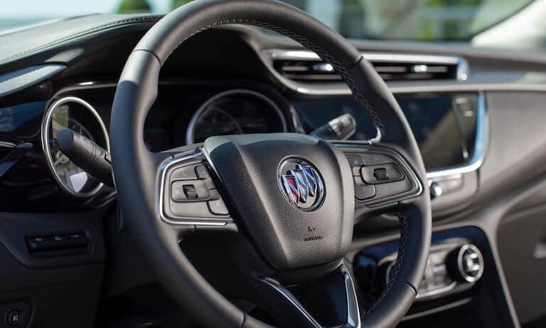 The steering wheel of the 2020 Buick Encore GX