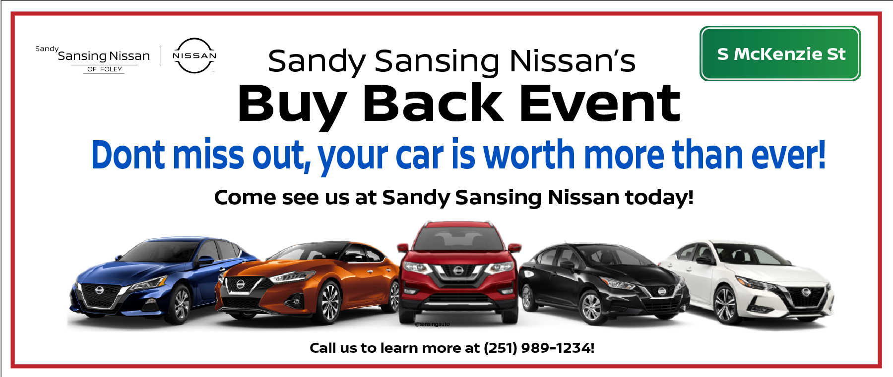 New Nissan lineup Buy Back Event