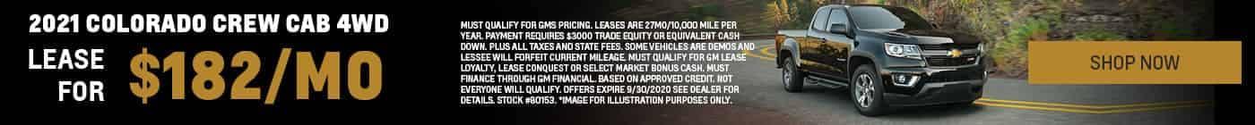 2021 Colorado Crew Cab 4WD $182/mo. Stock # 80153