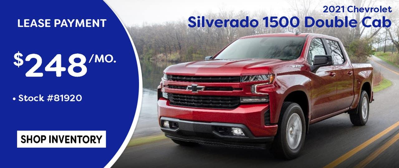 July 2021 Silverado Double Cab Lease Special $248/mo.*
