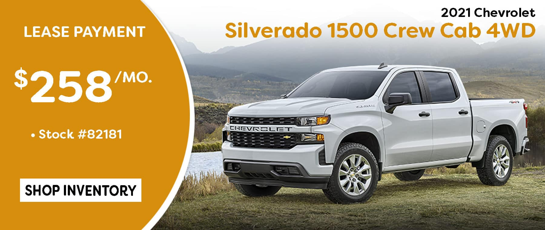 October 2021 Silverado Crew Cab LT Lease Special $258/mo*