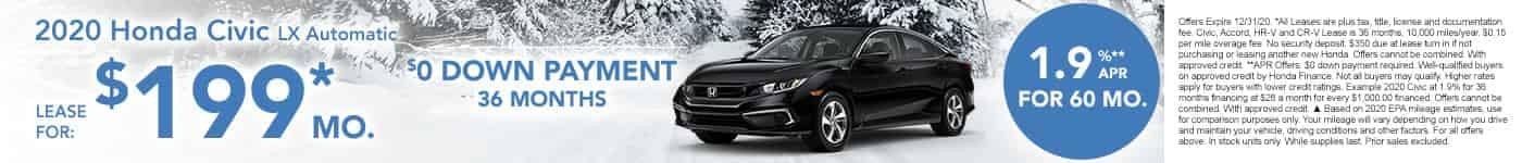 New Honda Civic for $199 per month