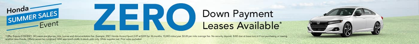 $0 Down Payment Leases Available
