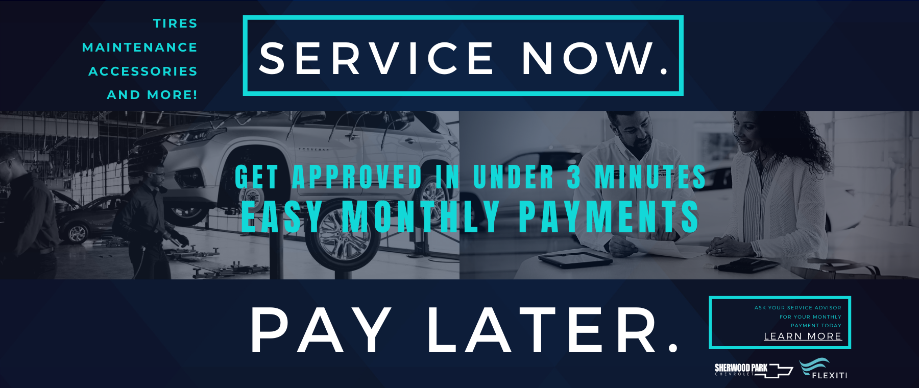 Service Now. Pay Later. Flexiti.