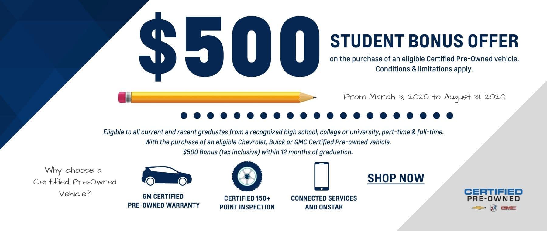 $500 Student CPO Bonus