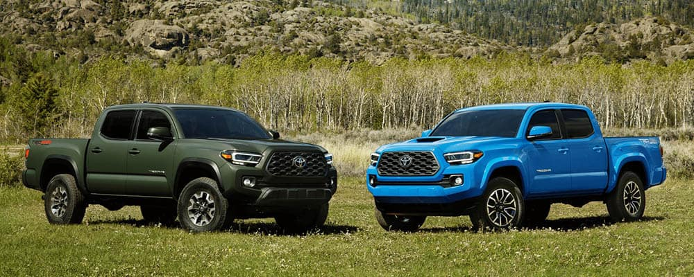 Two 2021 Toyota Tacoma trucks green and blue parked on grass