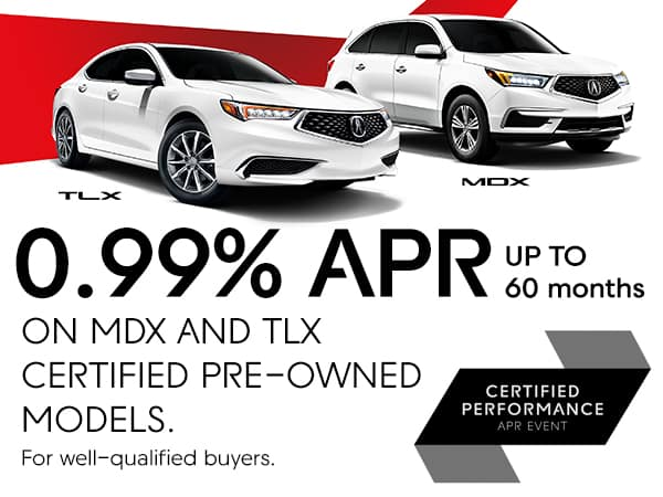 0.99% APR up to 60 months on MDX and TLX