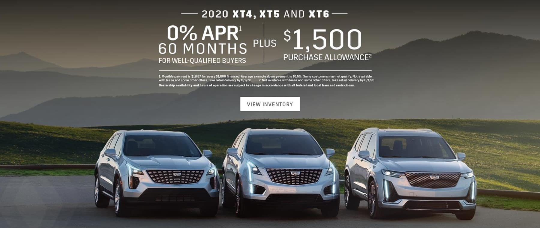0% APR for 60 months on Select Cadillac Models