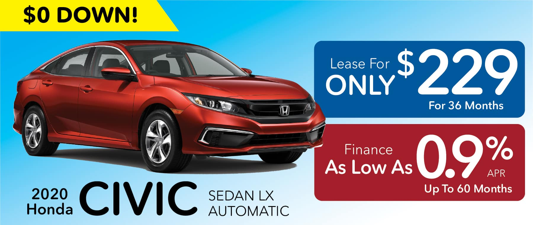 2020 Civic Lease for $229 month for 36 Months