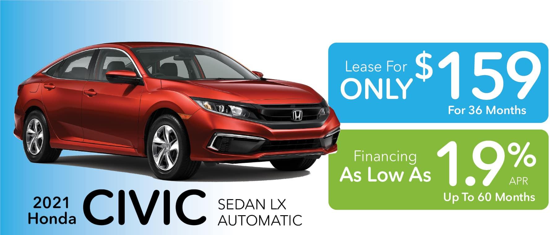 2020 Honda Civic LX Sedan lease or finance