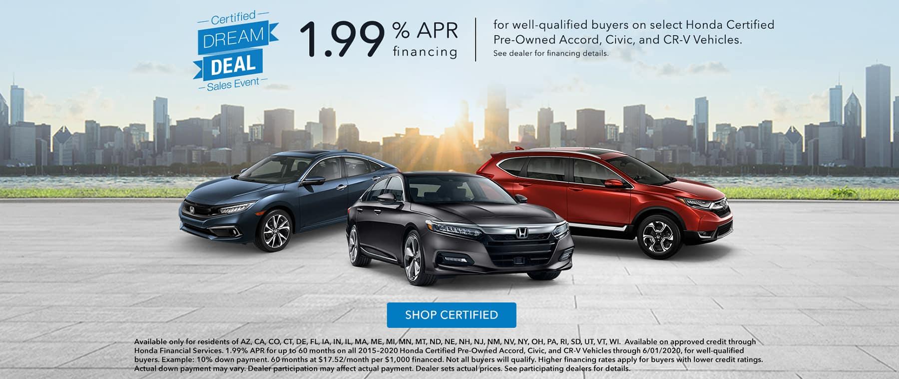 Finance for 1.99% APR on Honda CPO