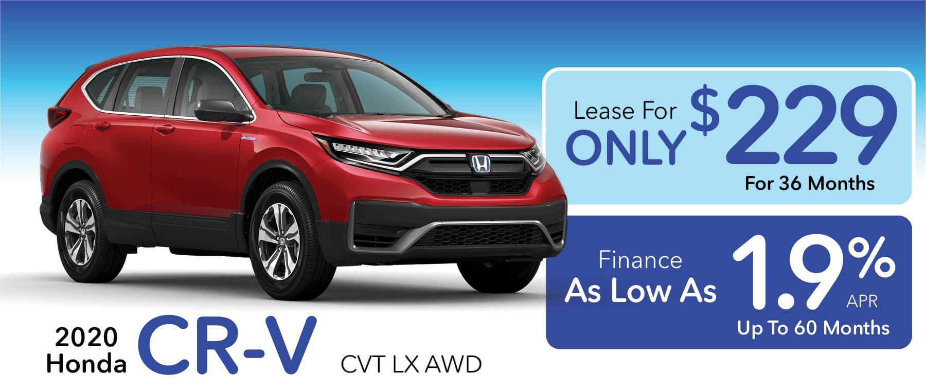 Lease or Finance a new 2020 Honda CR-V LX CVT AWD in Greensburg PA