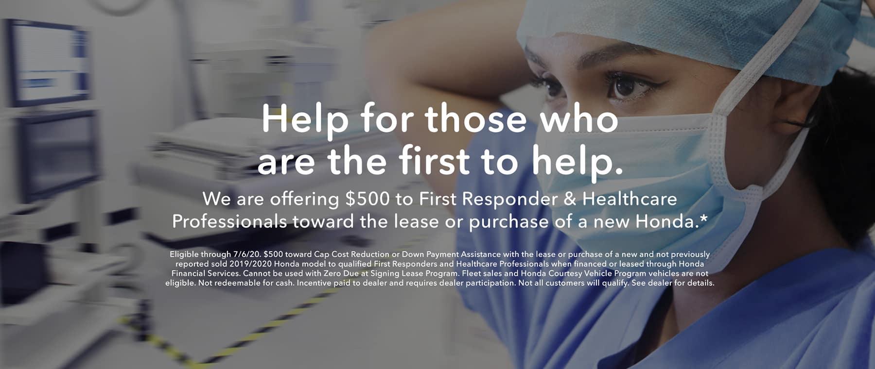 $500 First Responder & Healthcare Professional Appreciation Offer