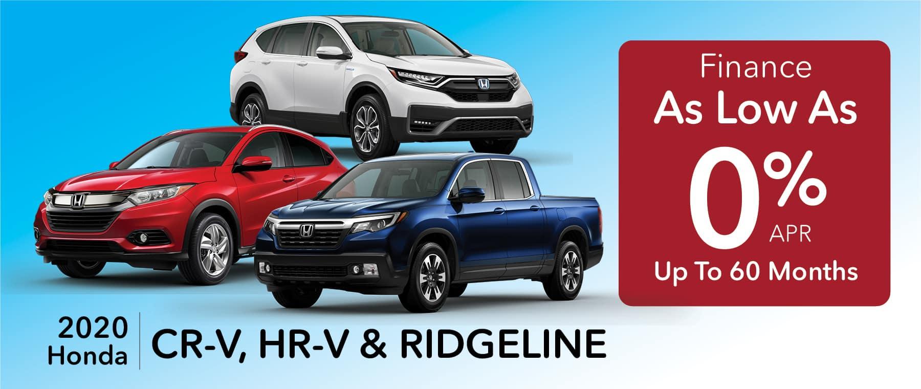 0% APR for up to 60 months CR-V HR-V Ridgeline at Smail Honda
