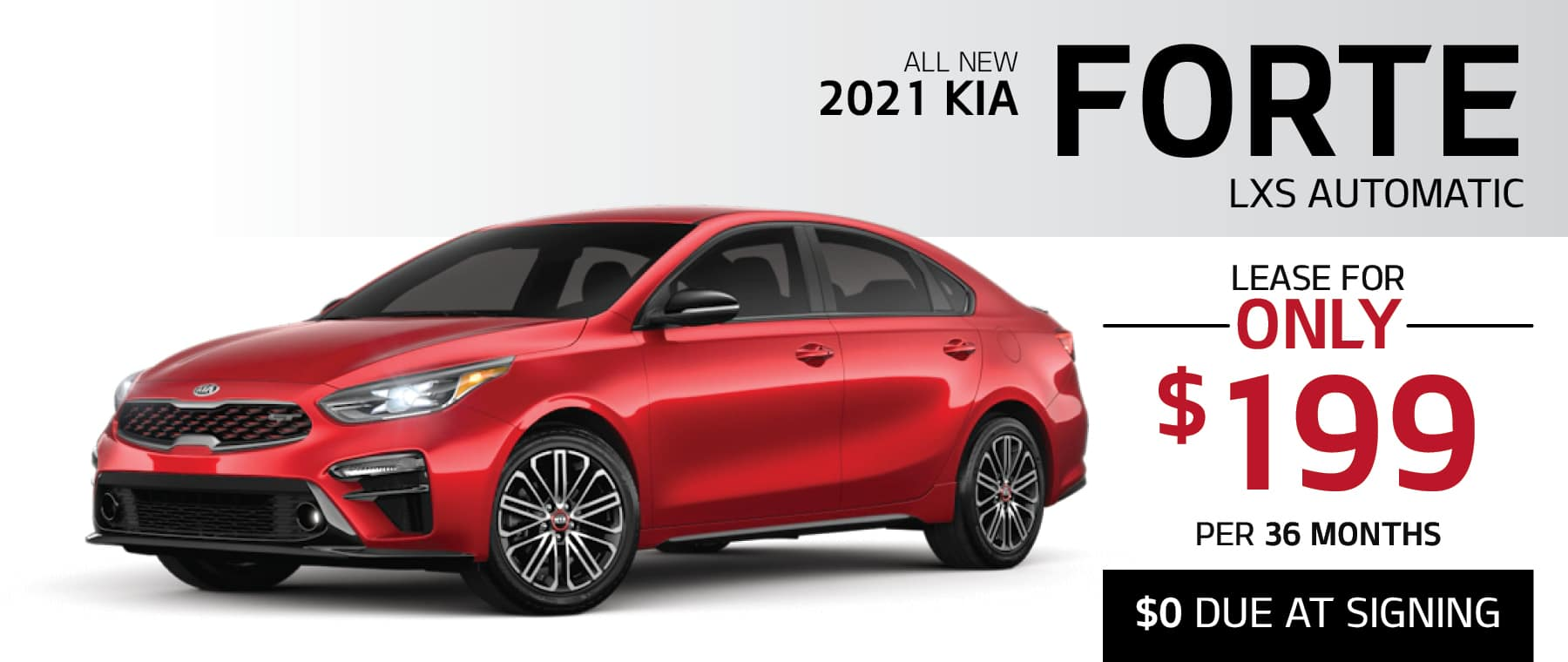 2021 Kia Forte LXS lease for $199 per month for 36 months with $0 due at signing