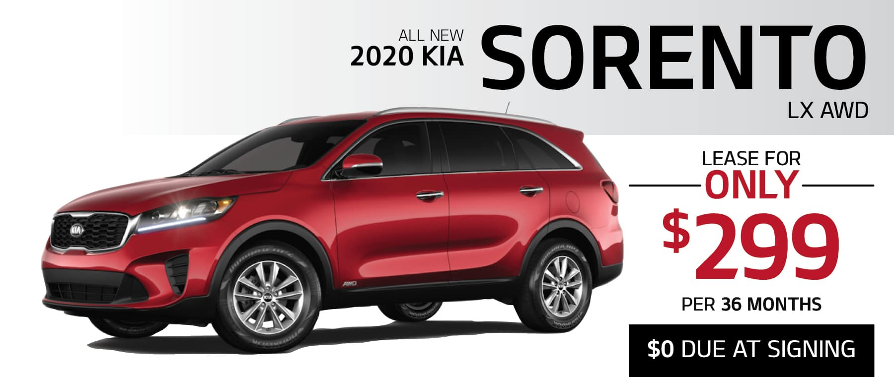 2020 Kia Sorento LX AWD 0% APR for up to 75 Months or lease for $299 per month with $0 due at signing