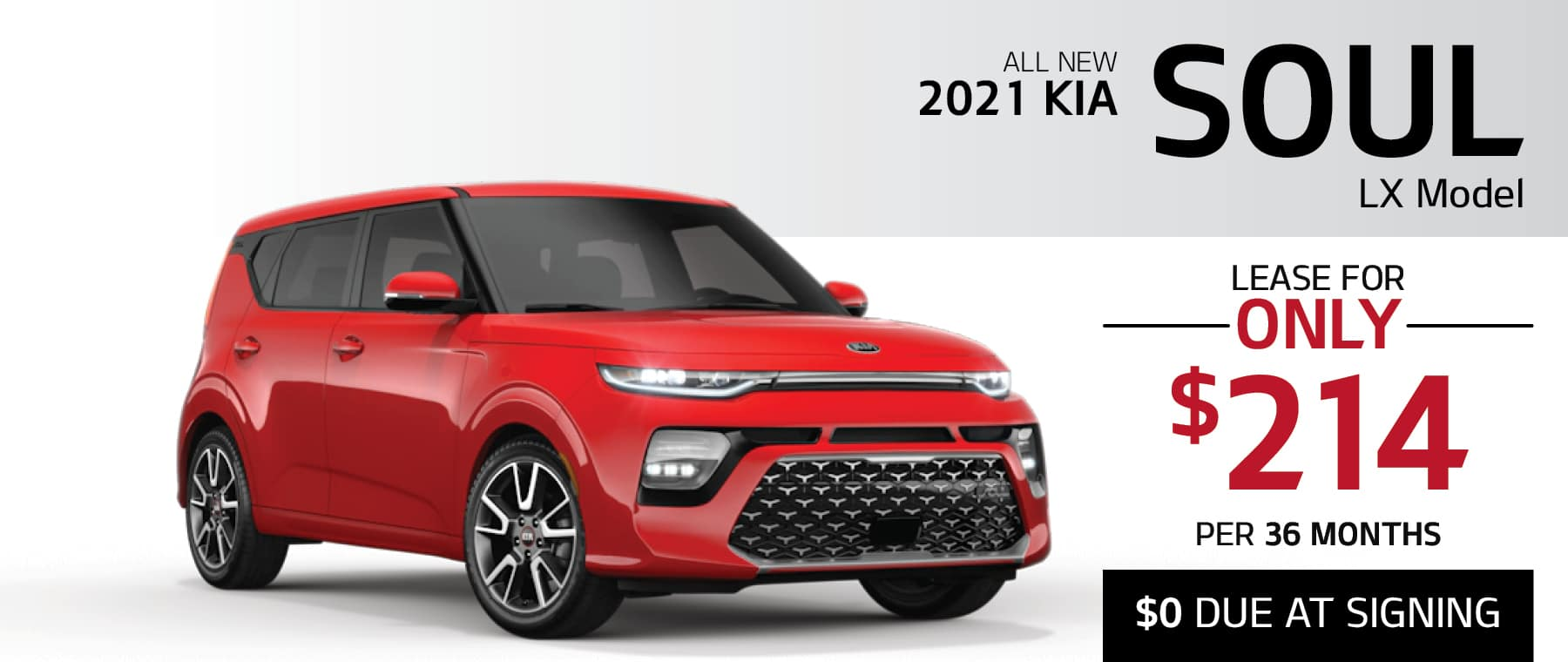 2021 Kia Soul LX lease for $214 per month for 36 months with $0 due at signing