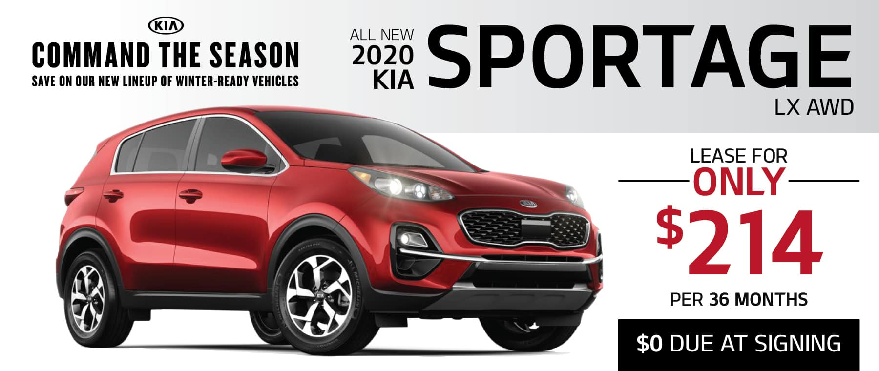 2020 KIA Sportage Lease for only $214 per month