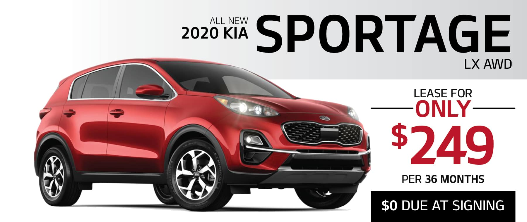 2020 Kia Sportage LX AWD lease for only $249 per month with $0 Due at Signing or finance for 0% APR for up to 75 Months