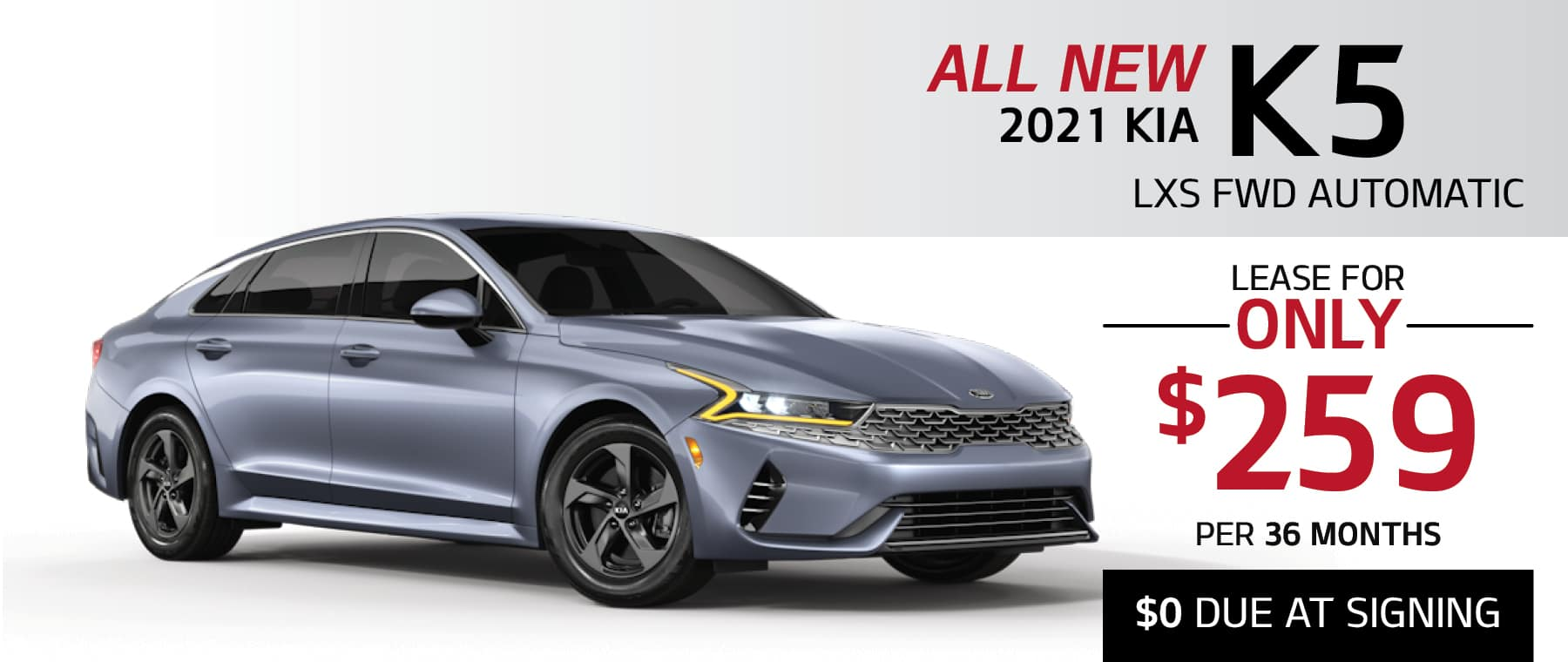 2021 Kia K5 lease for $259 per month with $0 due at signing at Smail Kia in Greensburg PA 15601