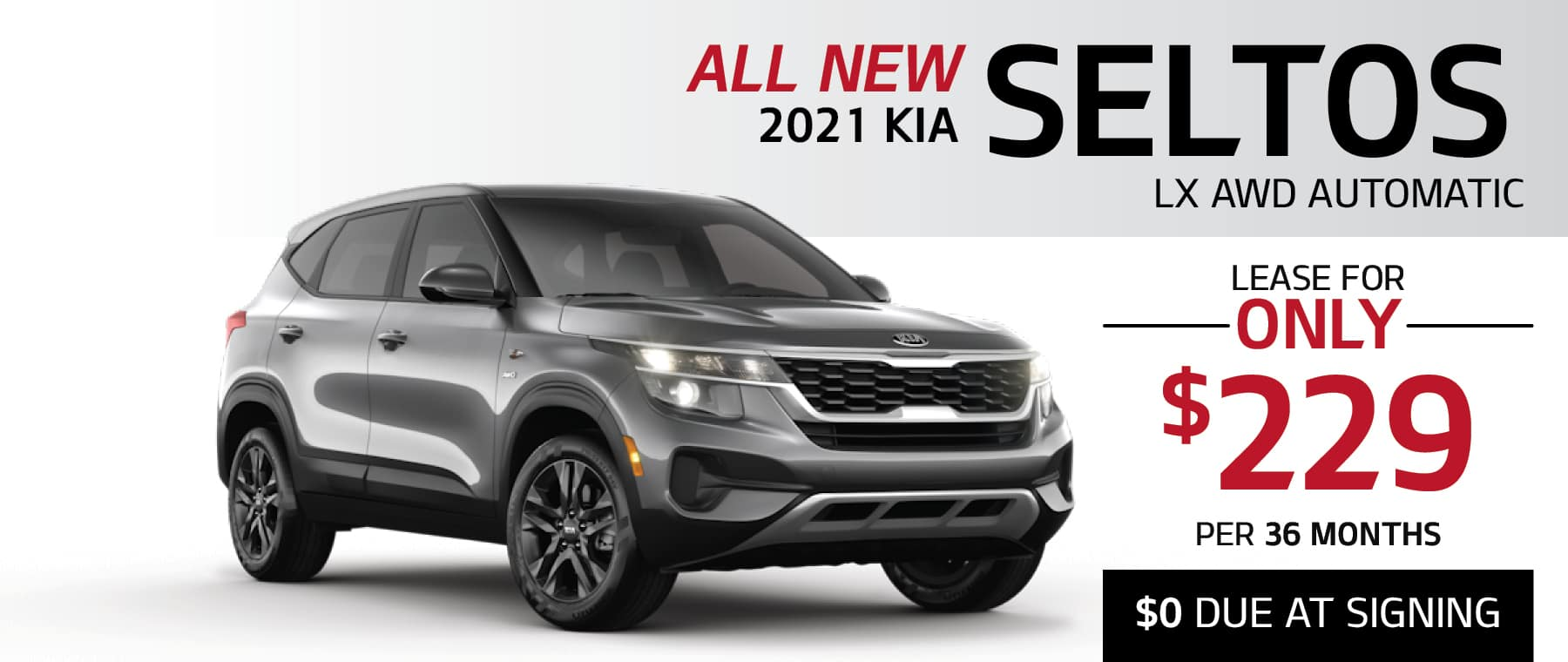 2021 Kia Seltos LX lease offer with $0 due at signing