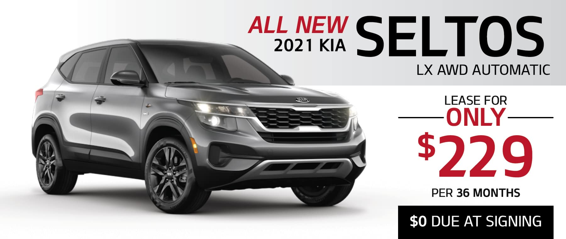 2021 Kia Seltos LX AWD Automatic lease for $229 per month for 36 months with $0 Due at Signing