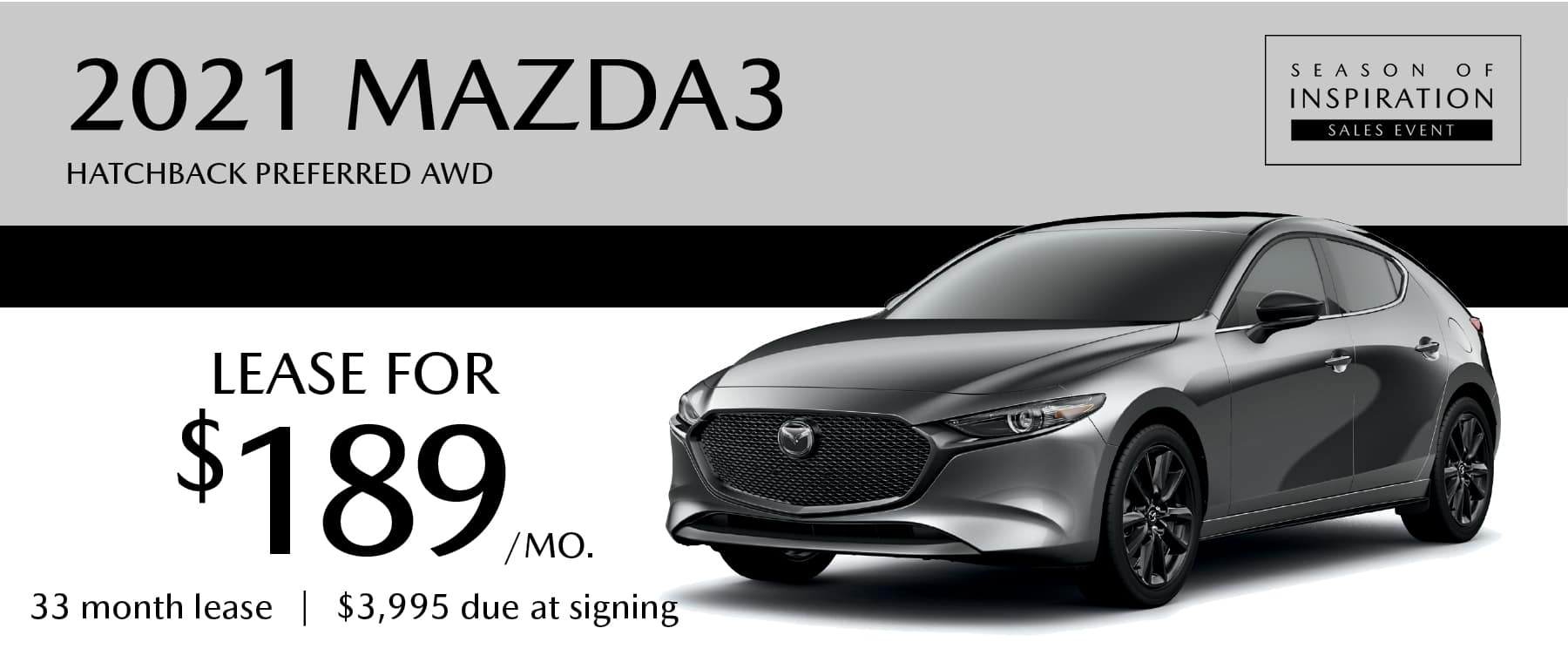 2021 Mazda3 Hatchback Preferred AWD Lease for $189 per month at Smail Mazda
