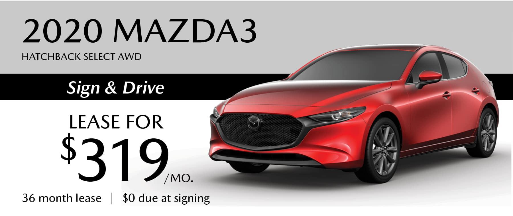 2020 Mazda3 Hatchback Select AWD Lease Offer