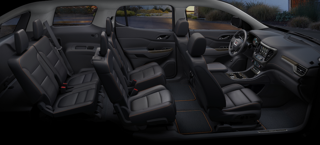 2021 GMC Acadia AT4 Full Interior Showing Six Passenger Seating Configuration; Kalahari/Jet Black Perforated Leather-Appointed; Passengers side View