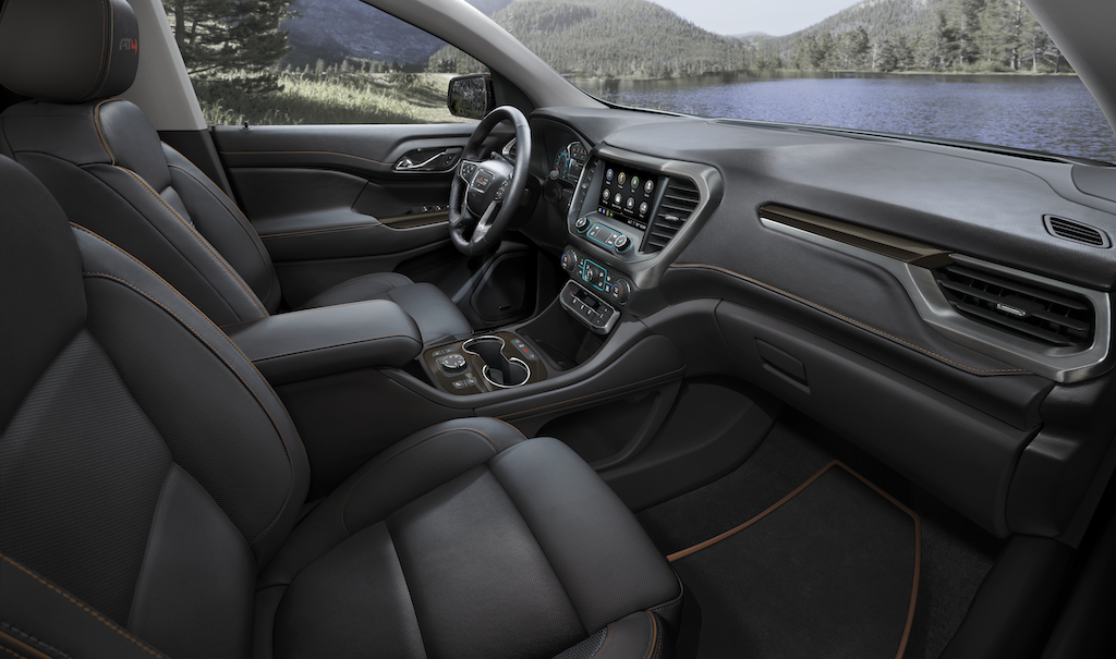 2021 GMC Acadia AT4 AWD Interior Cockpit Featuring Kalahari/Jet Black Leather-Appointed Seating; View from Passengers side