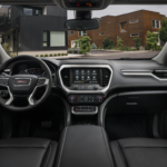 2021 GMC Acadia SLT Interior Cockpit with Jet Black/Jet Black Leather-Appointed Seating