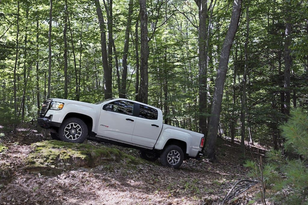 2021 GMC Canyon AT4 Crew Cab in woods