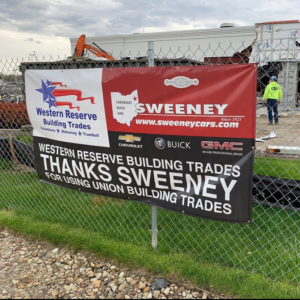 Western Reserve Building Trades Thank You Banner at Sweeney Buick GMC