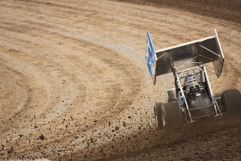 sprint car racing on a dirt track