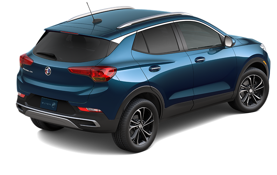 2021 buick encore gx in Deep Azure color, 3/4 passenger side back view